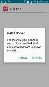 vidmate install blocked